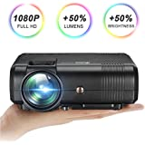 Video Projector 1080P 2200 Lumens,GOXMGO Mini Portable Projector HD LED Movie Projector, Home Theater Projector Support USB SD Card VGA AV for Home Cinema TV Laptop Game Smartphone with Free AV Cable