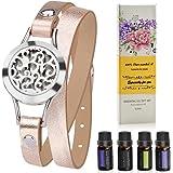 Aromatherapy Essential Oil Diffuser Bracelet Gift Set w/Rosemary, Lavender, Bergamot, Eucalyptus, 10ML/pcs, Unique Gift Ideas