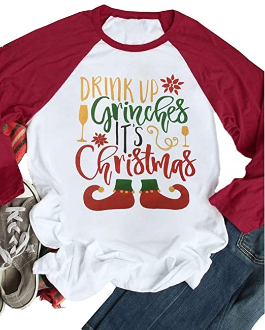 4ab010b0d Amazon.com: Drink Up Grinches It's Christmas Funny T Shirts Womens Cute  Wine Cup 3/4 Sleeve Raglan Baseball Snowflake Tees Tops: Clothing
