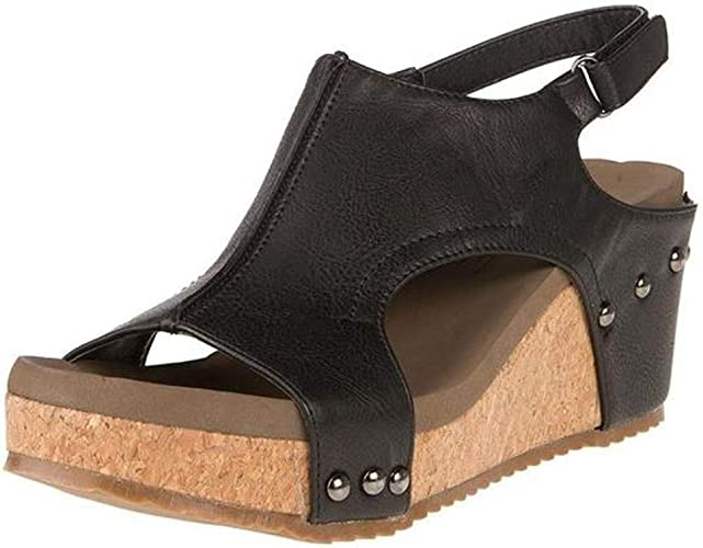 Womens Black Corkys Music Sandals