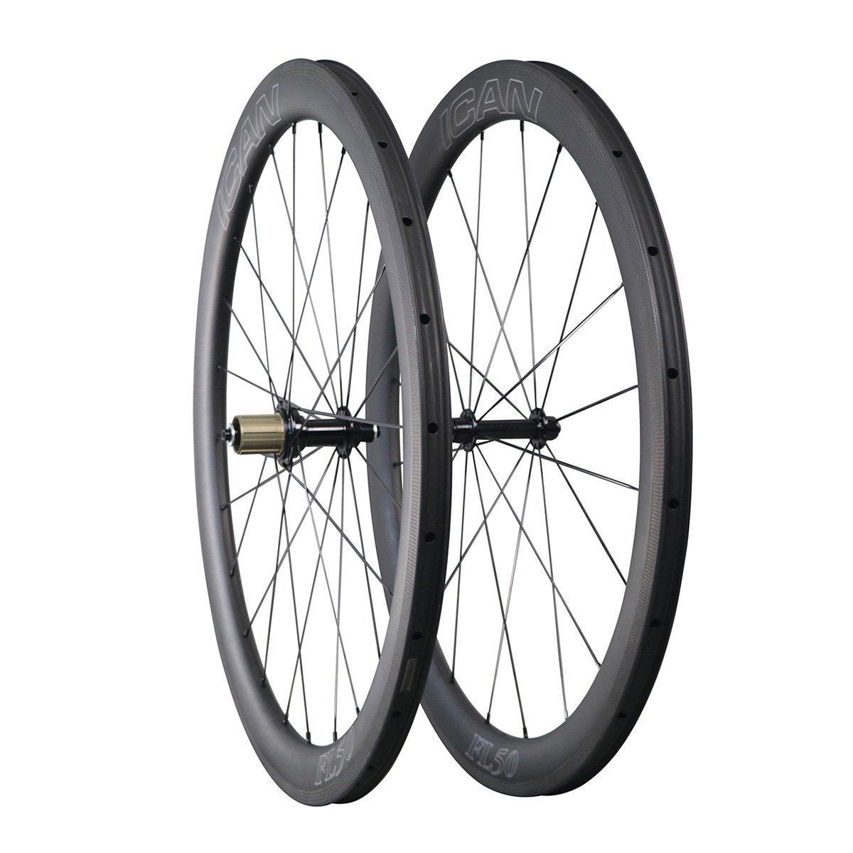 ICAN 700C Carbono Carretera Bicicleta Rueda 50mm Clincher Tubeless listo Sólo 1577g: Amazon.es: Deportes y aire libre