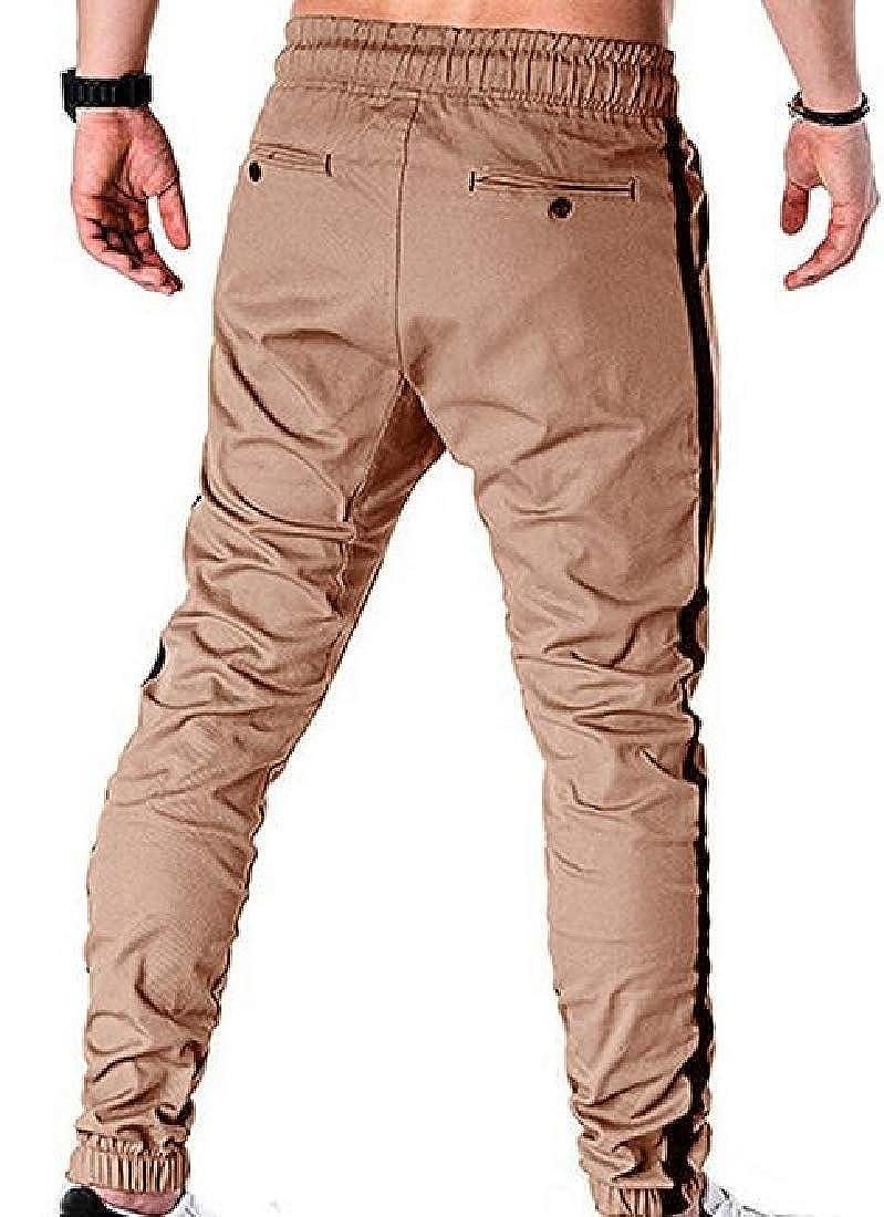Fubotevic Men Casual Loose Drawstring Color Block Cargo Jogger Pants Trousers