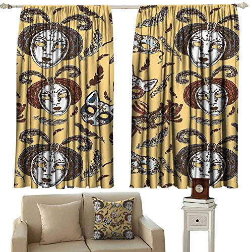 DUCKIL Heat Insulation Curtain Masquerade Venetian Style Paper Mache Face Mask with Feathers Dance Event Theme Blackout Draperies for Bedroom Window W63 xL63 Mustard Brown White