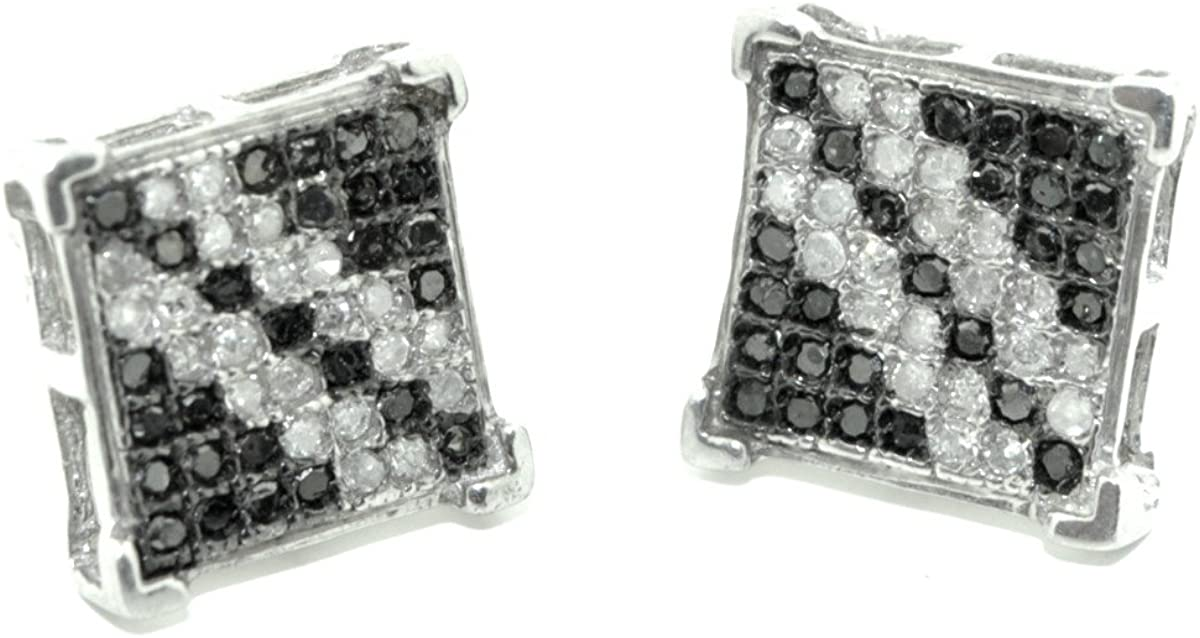 0.15ctw Black Diamond Fashion Earrings 10K White Gold