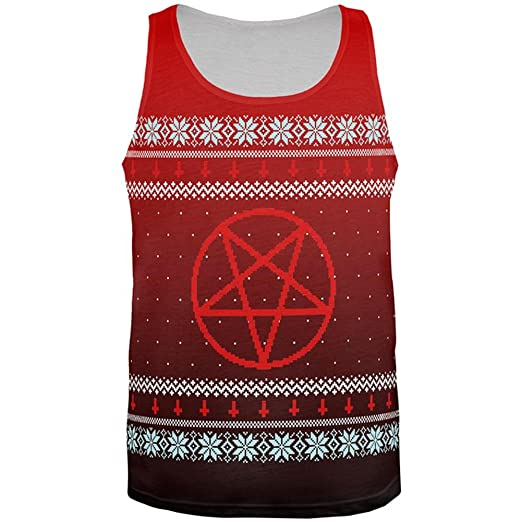de134a2a6149ac Old Glory Ugly Christmas Sweater Red Black Pentagram Ombre All Over Mens  Tank Top Multi SM