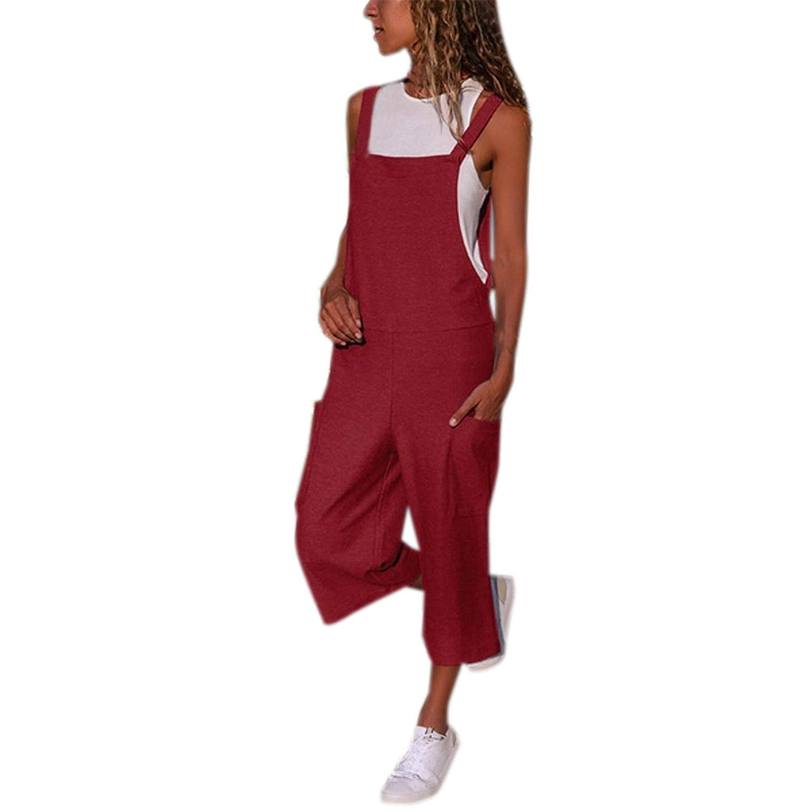 Thenxin Womens Baggy Bib Overalls Long Pants Wide Leg Rompers Jumpsuit Dungarees with Pockets(Wine,M)