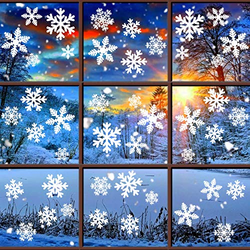 Tifeson White Snowflakes Window Clings Static Decal Stickers - Xmas Holiday Christmas Clings Window Stickers - Removable Winter Ornaments Decorations (6 Sheets) -