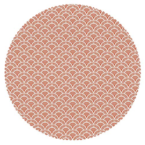 iPrint Multicolor Round Tablecloth [ Asian,Scale Pattern with Half Circles and Lines Geometrical Elements Abstract Boho Tribal Decorative,Orange White ] Fabric Home Decor Set ()
