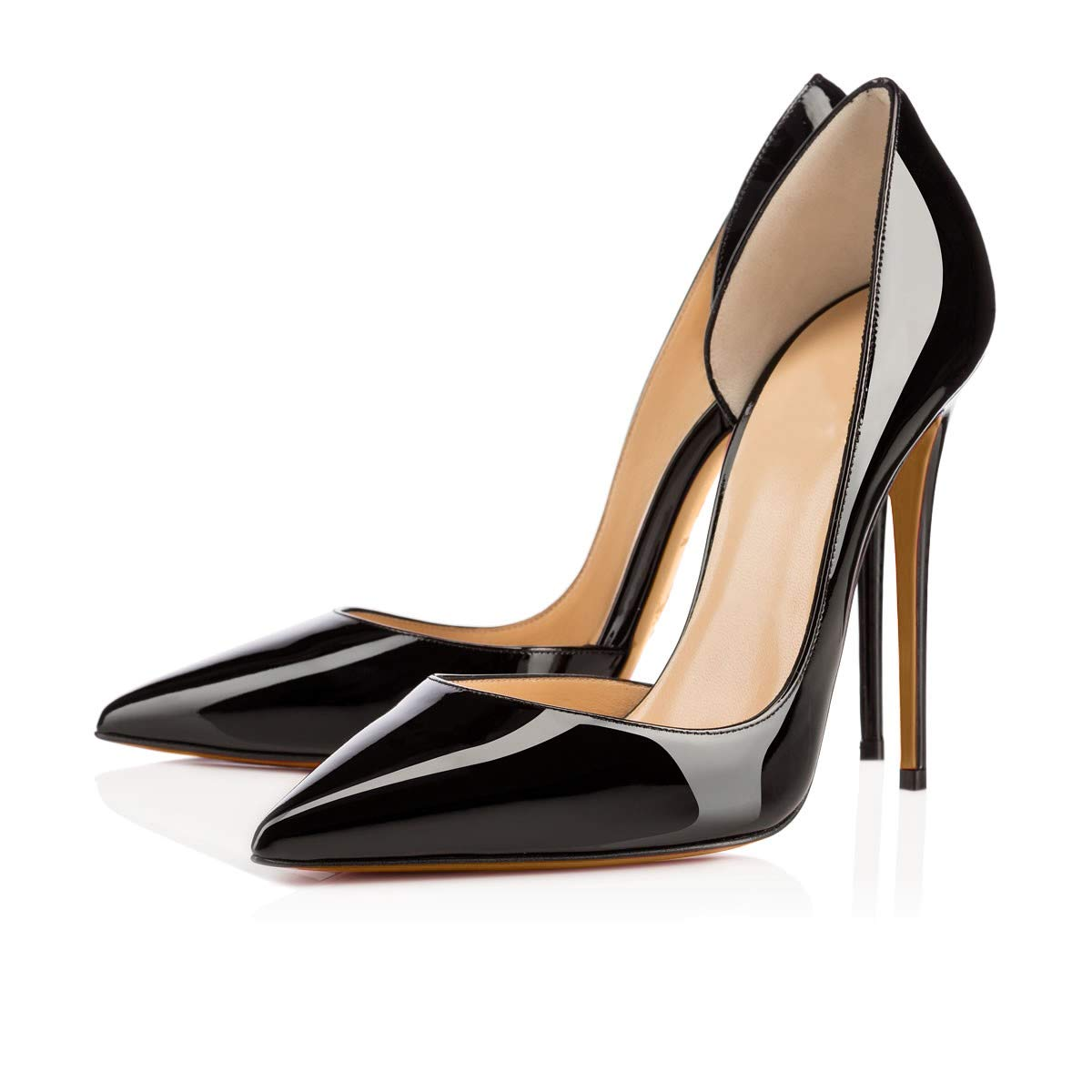 Black side-12cm CAITLIN-PAN Womens 12cm High Heels Pointed Toe Slip On Stilettos Leather Party Dress Pumps Size 5-15 US