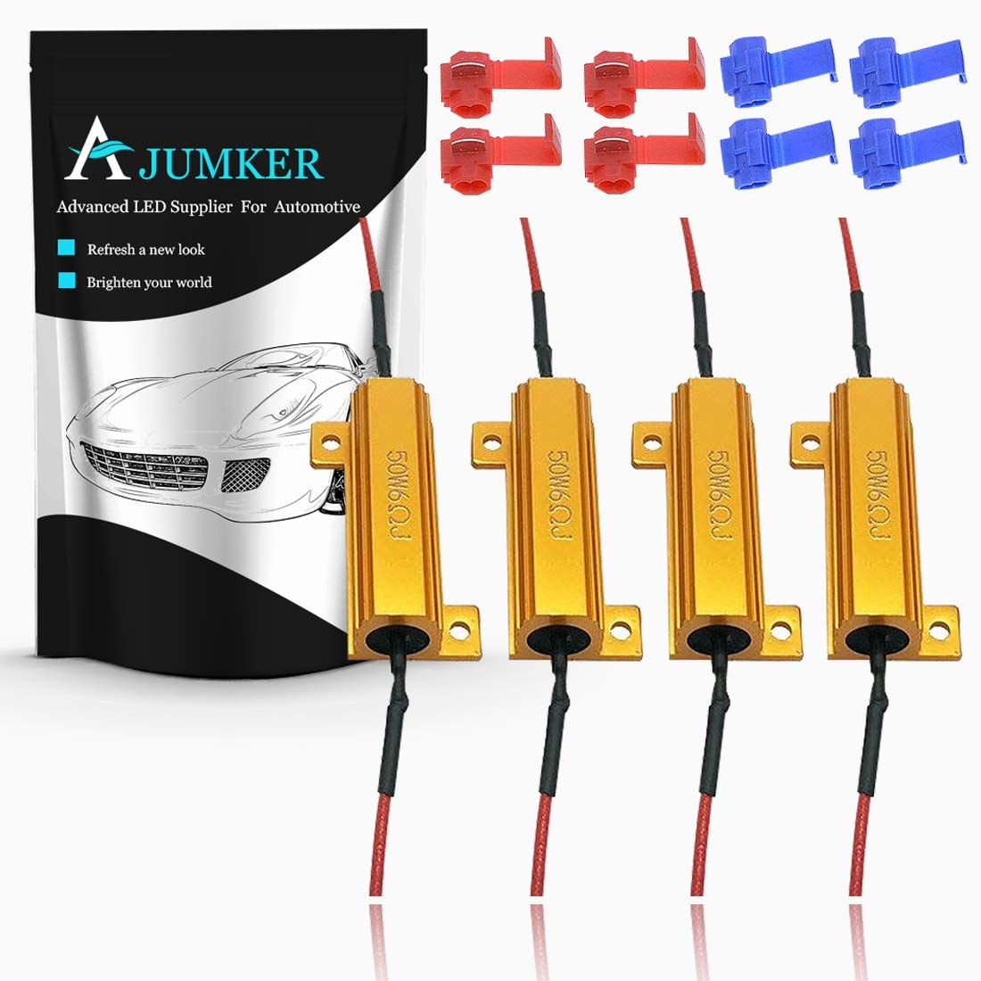 Fix Hyper Flash /& Warning Cancellor with 8pcs Quick Wire Clips AJUMKER 4pcs 50W 6-ohm Load Resistors for LED Turn Signal Lights or LED License Plate Lights or DRL