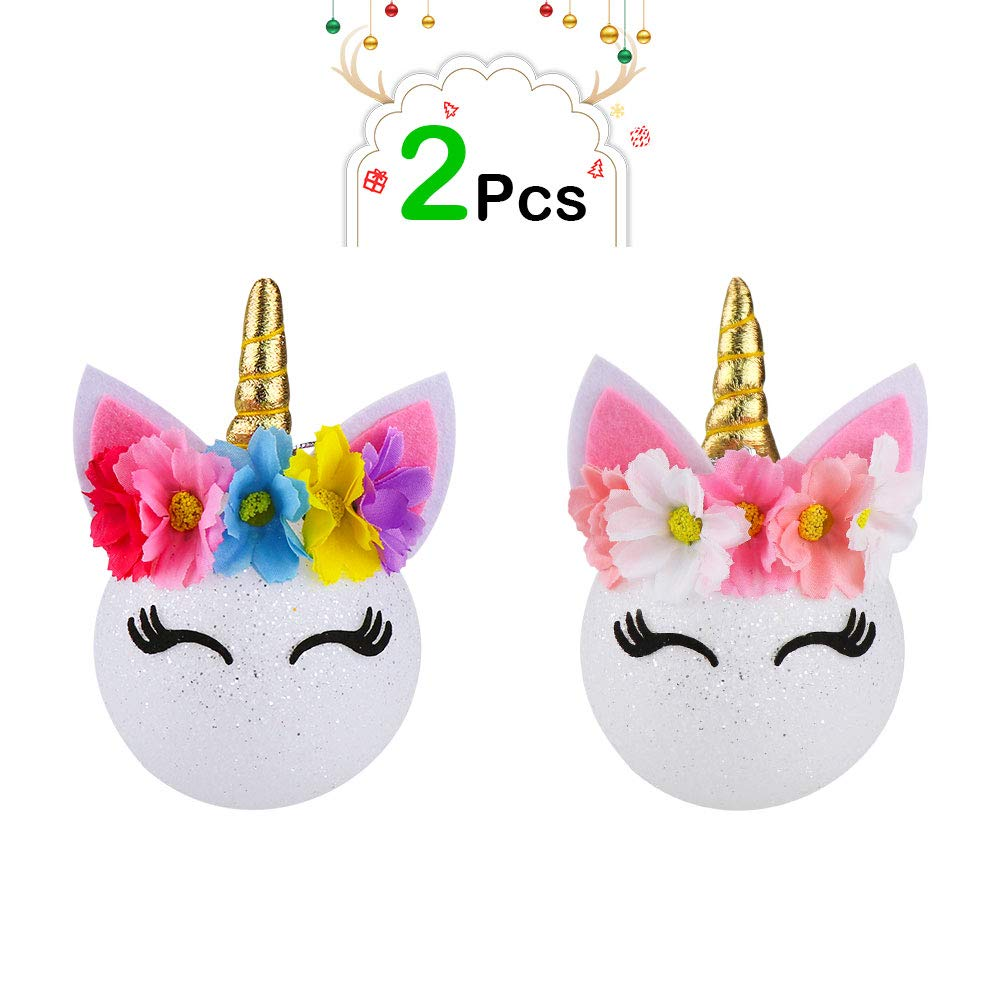 FHzytg 2Pcs Christmas Balls Unicorn Ornaments Shatterproof for Xmas Tree- Magical Unicorn Ornament Decorations Kit Christmas Tree Hanging Decorative Ornament