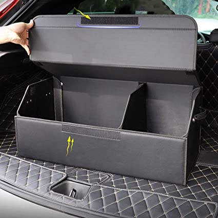 KRD Auto Car Cargo Trunk Organizer for Mercedes Benz C63 E63 S63 S65 AMG GT53 GT50 Black Oxford Collapsible Portable Multi Compartments Storage Container Trunk Organizer