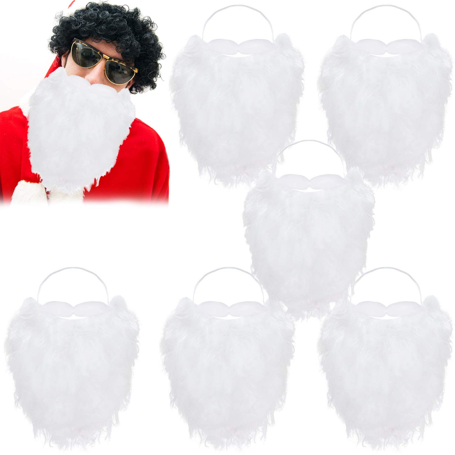 Winrase 6pcs Santa Beard Costume Christmas Santa Claus Beard White Fake Beard Christmas Party Festive Dress Up Accessories for Adult Kids Child