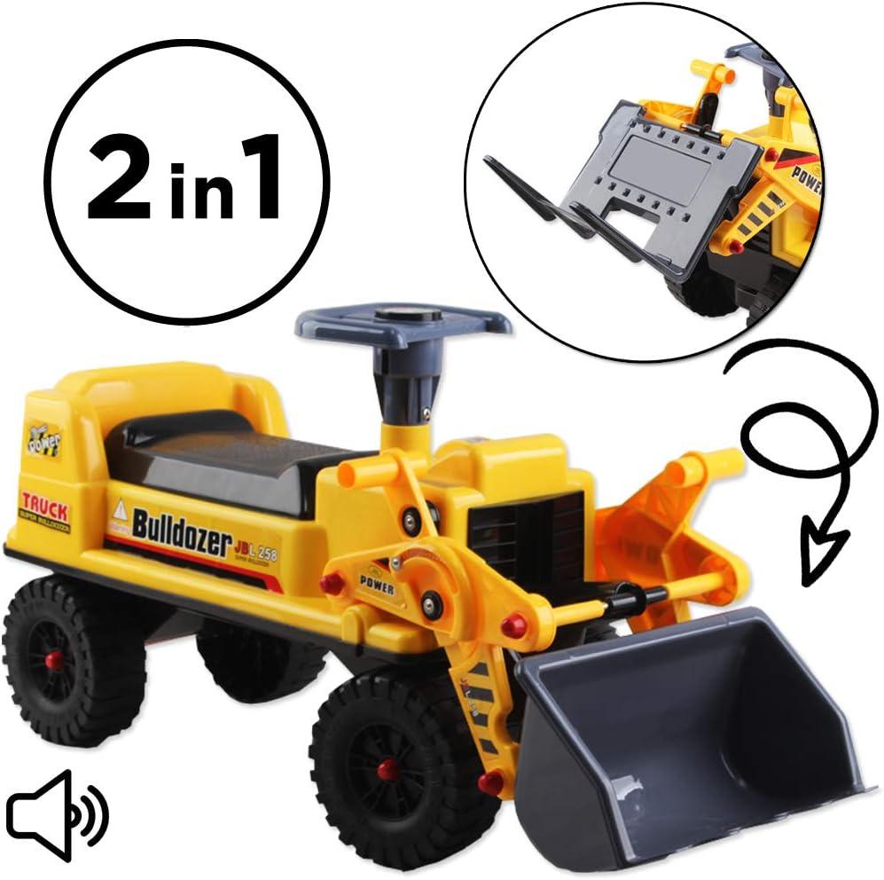 deAO Camion Correpasillos Vehículo de Arrastre sin Pedales Tractor Bulldozer Pala Excavadora Manual con Almacenaminto Adicional y Bocina
