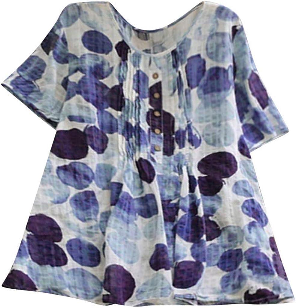 Severkill Women Ladies Long Sleeve Polka Dot Loose Blouse Pullover Button Tops Shirt