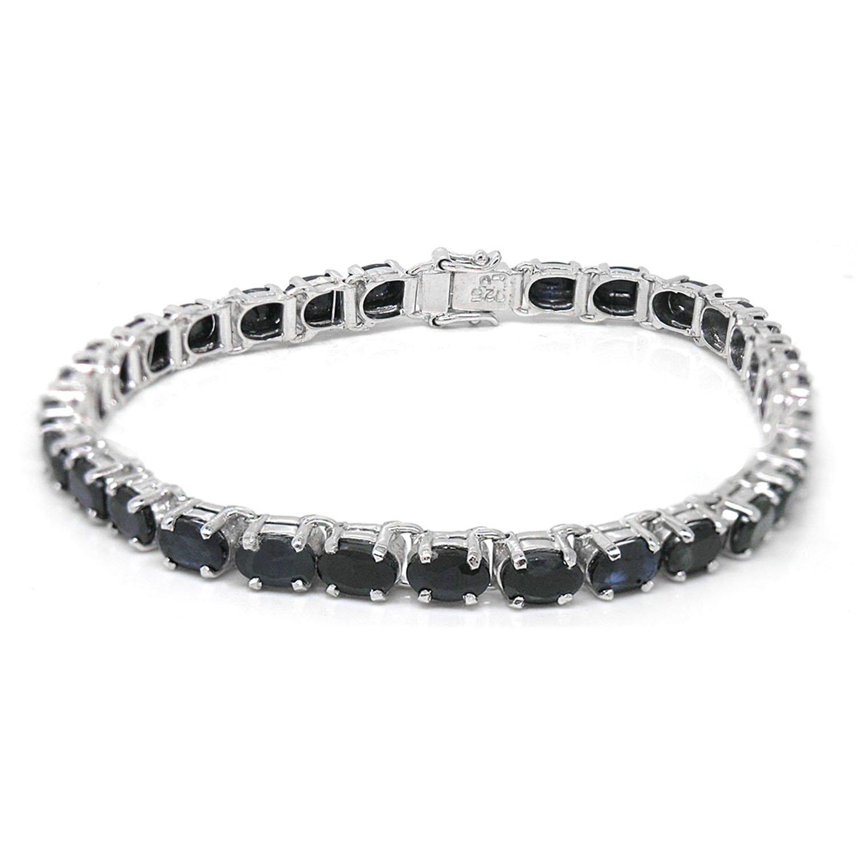 De Buman Sterling Silver Natural Blue Zircon or Sapphire Bracelet (Sapphire Bracelet-7.5) by De Buman