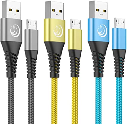 Yosou Cable Micro USB, Cable Android [3-Pack 2M] Nylon Cargador ...
