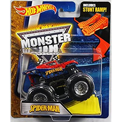 Hot Wheels Monster Jam 1:64 Scale - Spider-Man with Stunt Ramp #27: Toys & Games