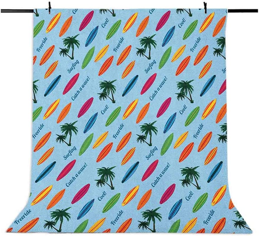 7x10 FT Surfboard Vinyl Photography Backdrop,Exotic Hawaii Vacation Palm Trees and Colorful Boards Water Sports Fun Activities Background for Baby Shower Bridal Wedding Studio Photography Pictures