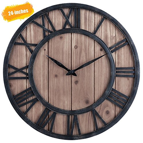 Hunter Garden Crafts Farmhouse Rustic Barn Vintage Bronze Metal & Solid Wood Noiseless Big Oversized Wall Clock (wooden, 24x24x1 inch) from Hunter Garden Crafts