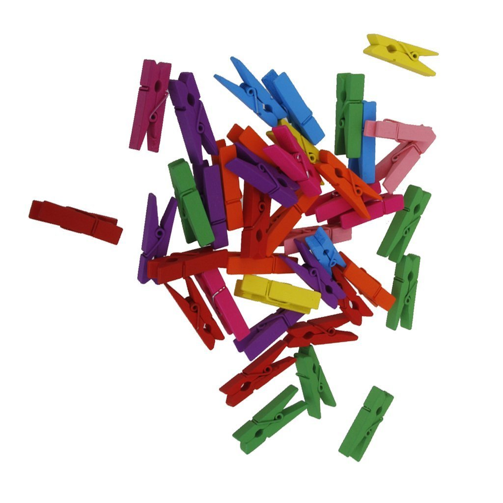 Hilai 50x Mini Wooden Craft Pegs Coloured