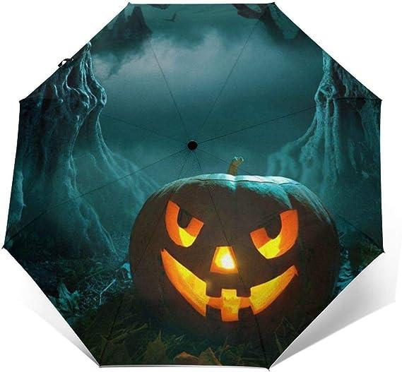 Girls Folding Umbrellas With Halloween Pumpkin Backgroud Printed Travel Umbrella