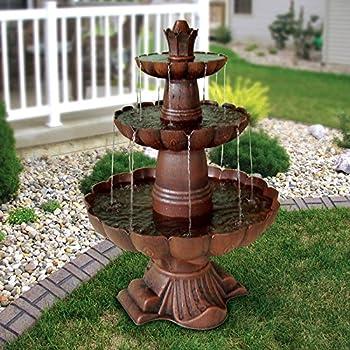 Amazon.com : Alpine Valencia 3-Tiered Outdoor Fountain : Outdoor ...
