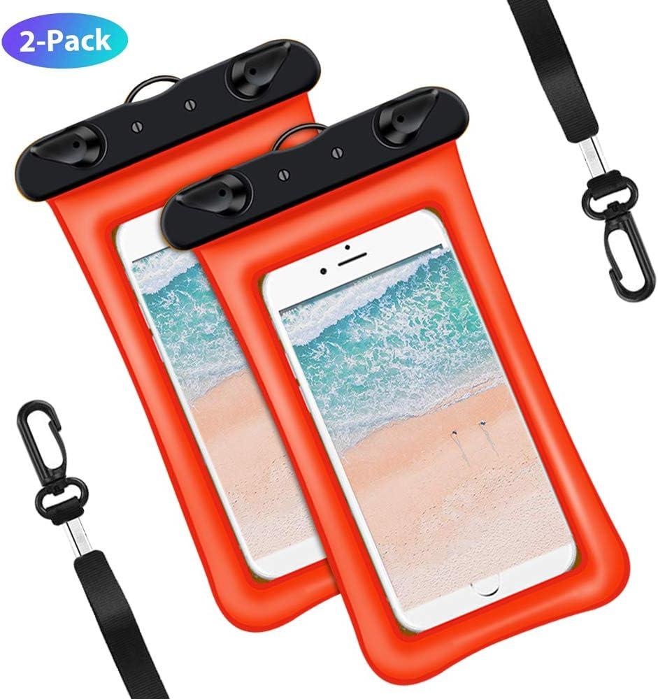 Supctup Fundas Impermeable Universal para Swimming, [2 Unidades] IPX8 Impermeable Móvil Carcasa Protectora PVC Bolsa Compatible para iPhone/Samsung Galaxy/Huawei/Xiaomi en [5.2 a 6.0],Naranja: Amazon.es: Electrónica