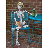 Prextex Tall Skeleton Full Body Custom Pose Halloween Decoration (Small Image)