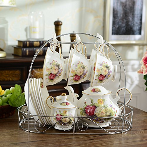ufengke White And Red Rose Flower 15 Pieces European Ceramic Tea Set Tea Service Coffee Set by ufengke®-ts (Image #3)