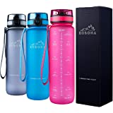 KOBONA 1-Litre Large Motivational Smart Water Bottle with Time Markings Hydration Tracker - Leak Proof, BPA Free USA Tritan Material; Ideal for Gym Sports Fitness Outdoor Hiking School Office; PINK BLUE GREY
