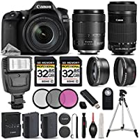 Canon EOS 80D Wi-Fi 1080P Digital SLR Camera + Canon 18-135mm IS USM + Canon 55-250mm IS STM + 0.43xWide Angle Lens + 2.2x Telephoto Lens. All Original Accessories Included - International Version