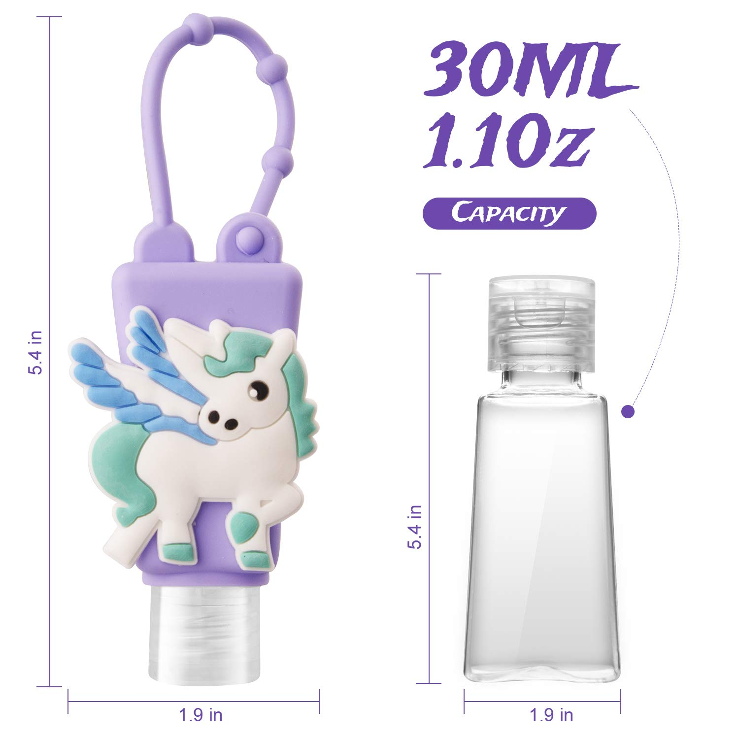 6pcs kids hand sanitizer holders with silicone case leakproof refillable portable bottles,mini detachable hand cleaner holders,l
