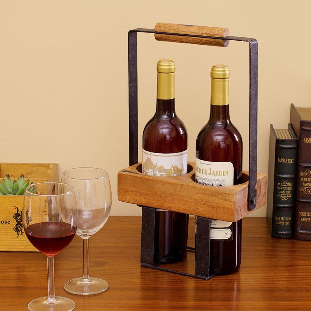 DJZ Estante del Vino Estante de Botella Botella Botella de Madera Maciza 2 Barras de Barra Decorativa Retro Estante del Vino Viento Industrial Estante de decoración de Escritorio Estante de Vino de Madera bc41b6