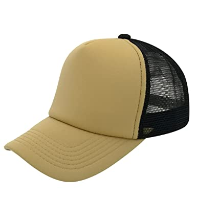 6cd0827d9bd9e oriental spring Unisex Blank Mesh Back Trucker Cap Snapback Adjustable Hat  Plain Baseball Cap  1 (Black Champagne Color)  Amazon.co.uk  Clothing
