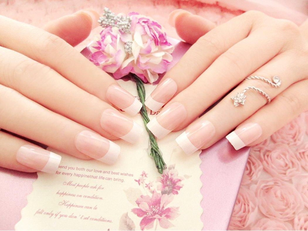 Puntas de uñas postizas Jovono estilo francés (tamaño mediano ...