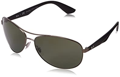 Ray-Ban METAL MAN SUNGLASS - MATTE GUNMETAL Frame POLAR DARK GREEN Lenses  63mm Polarized