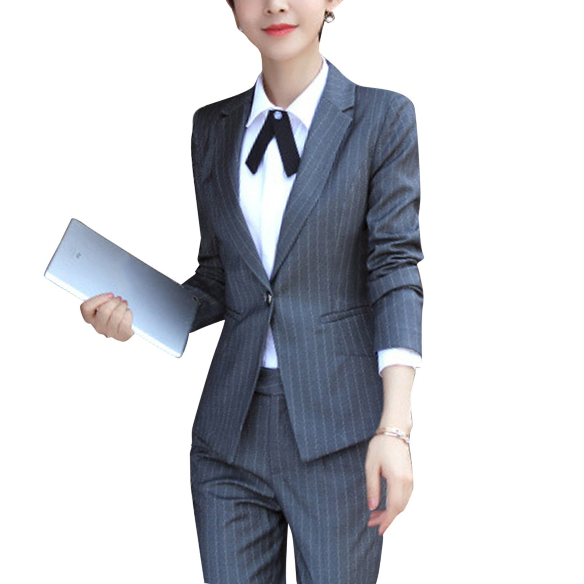 YUNCLOS Women's Two Piece Office Lady Stripes Business Suit Set Slim Fit Blazer Jacket Pant by YUNCLOS
