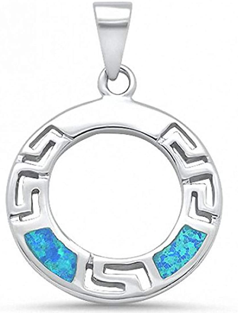 Circle Round Greek Key Pendant Created Opal 925 Sterling Silver Choose Color
