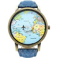 BLACK MAMUT Reloj Análogo Diseño Travel, Segundero en Forma de Avión, Movimiento Cuarzo, Correa de Cuero