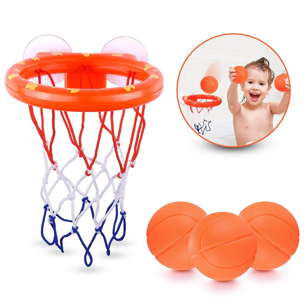 AICHO Fun Basketball Hoop & Balls Playset for Little Boys & Girls | Bathtub Shooting Game for Kids & Toddlers | Suctions Cups That Stick to Any Flat Surface + 3 Balls Included
