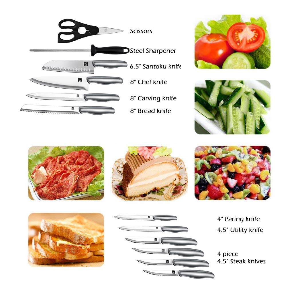 Stainless Steel Chef's Knife (12-Piece-Black) by J and J (Image #3)