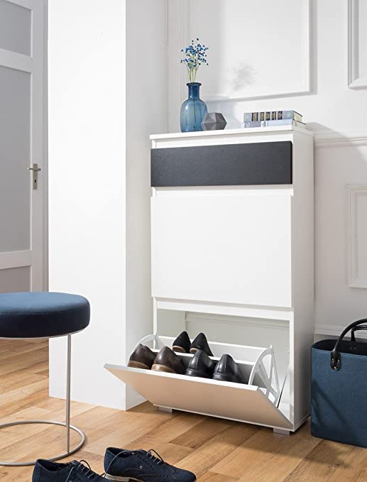 Schuhschrank Imke 44 weiß 58x109x25 cm Schuhkipper Wandschuhschrank Garderobe