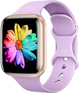 Sport Band Compatible for Apple Watch Band 44mm 42mm, SWHAS Soft Silicone Band Replacement Wrist Strap for iWatch Series 5/4/3/2/1,Lavender Purple,Small