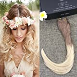 Full Shine 18inch Remy Human Halo Hair Extensions No Glue No Clips No Weaving Invisible Wire Ombre Fading 6 to #613 Blonde Flip in Hair Extension 80g Hairpieces