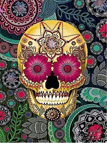 Kuwoolf 5D DIY Diamond Painting Colorful Smile Skull Cross Stitch Halloween Needlework Home Decorative Full Square Diamond Embroidery Flowers (Halloween In Times Square 2017)