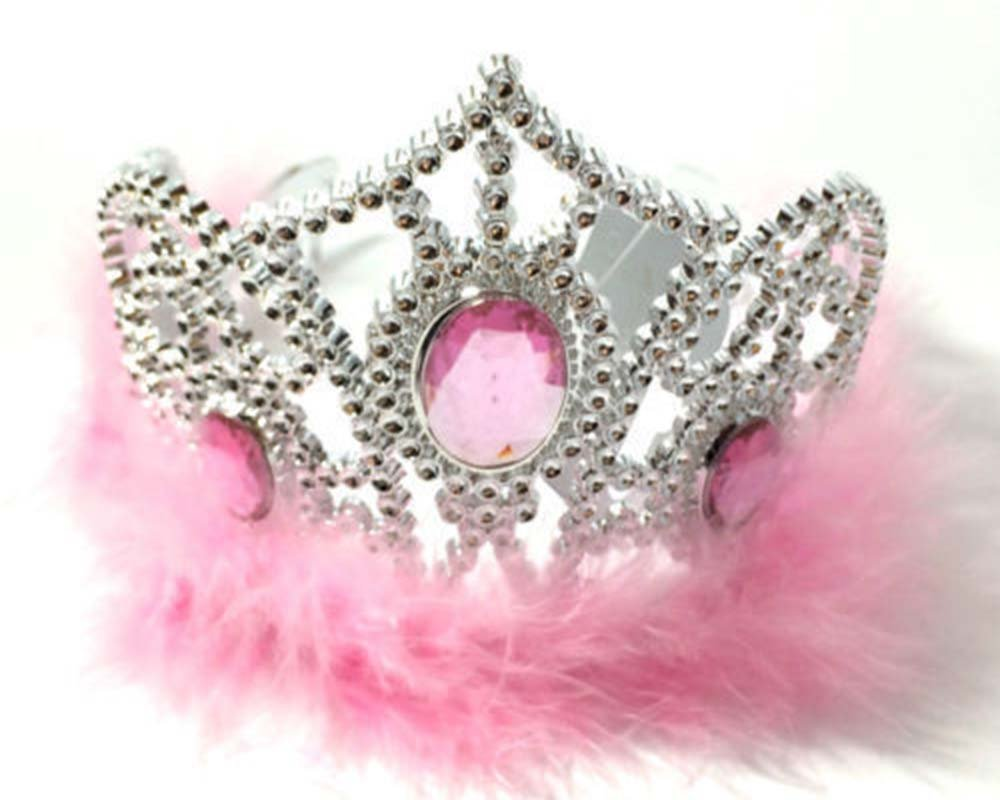 ragazze tiara Crown pelliccia ecologica massiccio gioiello Fancy Dress Hair Band compleanni per addio al nubilato