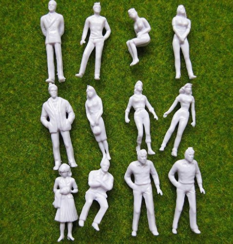 O Scale Model Train Unpainted Figures 1:50 Assorted Pose 100pcs (Model People Figures)