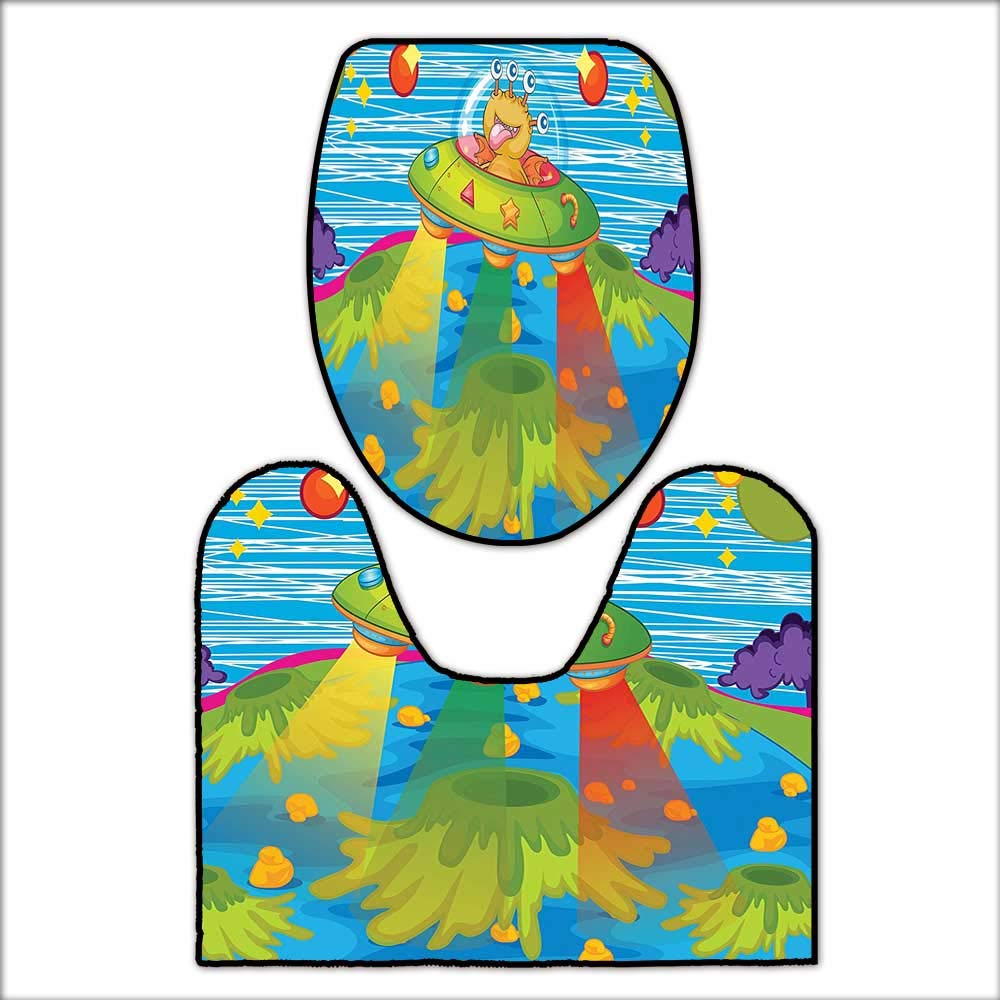 qianhehome 2 Piece Bathroom Rug Set for Kids Scary Monster in UFO on Planet Solar System Galaxy Funky Back for Green Blue. Mat Non Slip Toilet Lid Toilet L20 x W20-W18 x H19