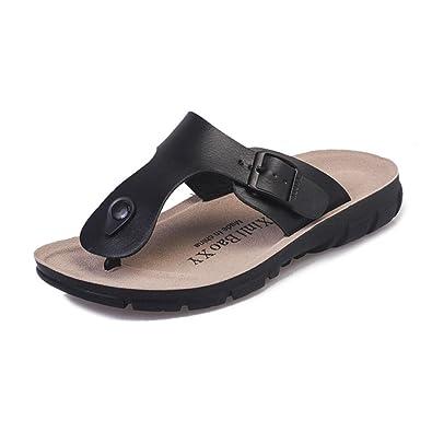 5b432e322db9 SunbowStar Women s Buckle Straps Thong Sandals Flip Flop Leather Platform  Footbed Trends Shoes Black